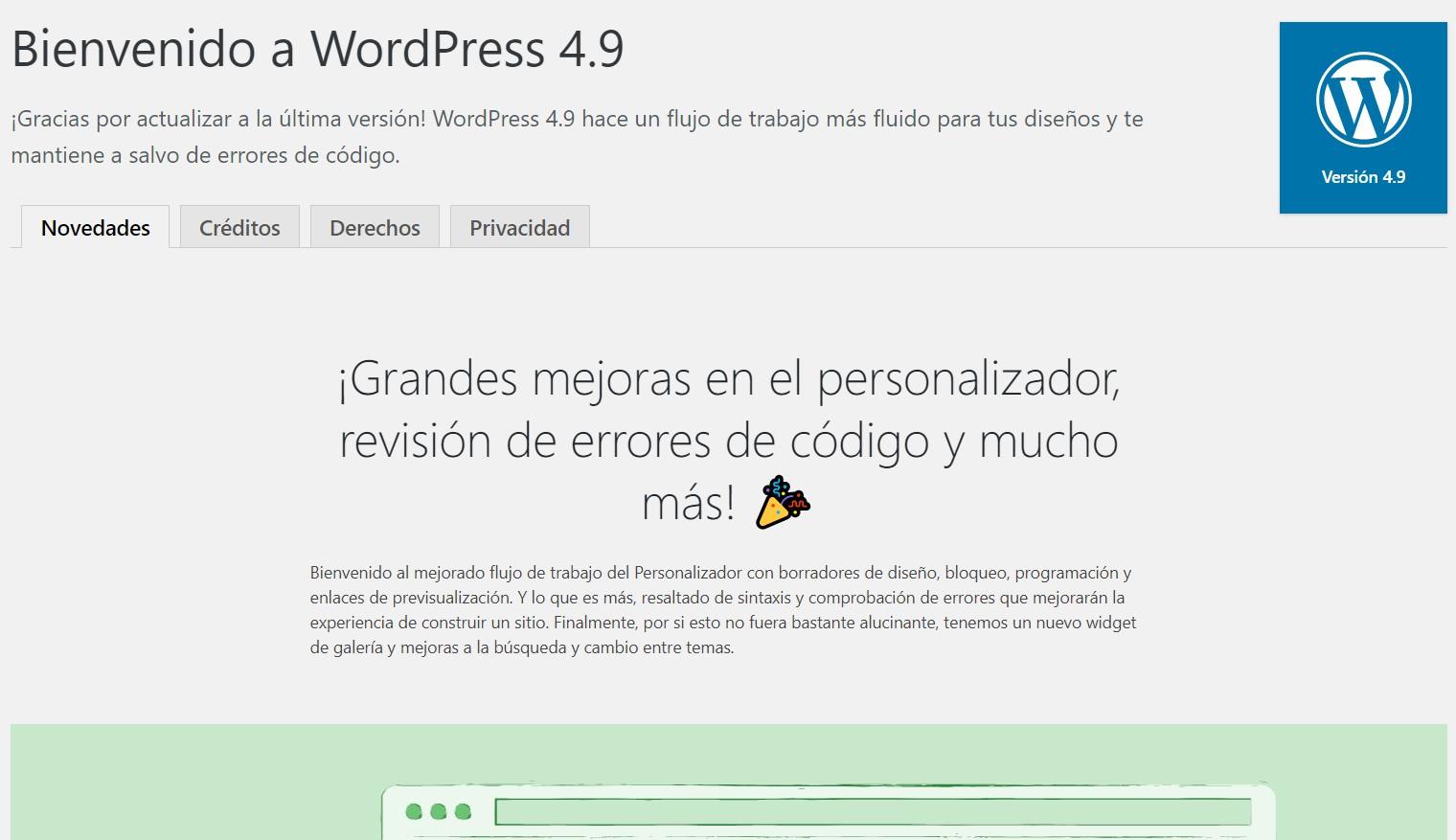 Llegada de wordpress 4.9